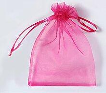 Organza Taschen Net Garn YFZYT Schmuckbeutel mit Vielfältig Farben ideal für Geschenk Hochzeit Süßigkeiten Säckchen Geeignet für Männer und Frauen,100 Stück,10 X 15 CM,Rosa