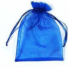 Organza Taschen Net Garn YFZYT Schmuckbeutel mit Vielfältig Farben ideal für Geschenk Hochzeit Süßigkeiten Säckchen Geeignet für Männer und Frauen, 100 Stück, 16 X 22 CM, Saphir