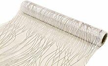 Organza-Tischband Tischläufer weiß mit silbernen