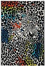 orgineller Designer Teppich maschinengewebt Leopard ca. 120 x 170 cm
