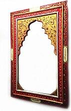 Orient Spiegel Wandspiegel Gulbadan 90cm groß | Großer Marokkanischer Flurspiegel mit Holzrahmen orientalisch handbemalt | Orientalischer Vintage Badspiegel ohne Beleuchtung als Orientalische Deko
