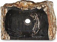 Oriental Galerie Steinwaschbecken aus versteinertem Holz Waschbecken Stein Fossilbecken Fossil Marmorierung Unikat Nr. 1008