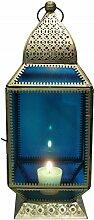 Oriental Moroccan Arabian Indian Mediterranean Glass Metal Garden Table Lantern Windlight - Aylin 39cm - For Candles Morocco Marrakech (Blau)
