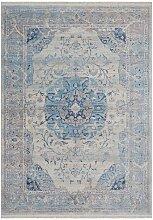 Orientalisch gemusterter Teppich in Blau und Beige