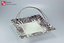 Orientalische Designerschale Schale Gebäckschale 29 cm Silber