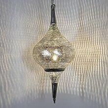 Orientalische Hängeleuchte Ägyptische Lampe Naila D21 Hängelampe Pendelleuchte Deckenlampe Deckenleuchte Orientalisch Türkische Lampe Silberlampe Messinglampe in Silber