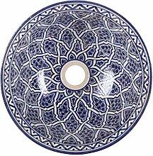 Orientalische Keramik-Waschbecken Fes112 Ø 35 cm