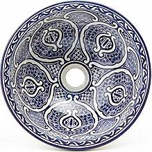 Orientalische Keramik-Waschbecken Fes75 blau weiß