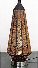 Orientalische kleine Tischlampe Lampe Adab Schwarz E14   Marokkanische Tischlampen klein aus Metall, Lampenschirm Schwarz   Nachttischlampe modern, für Vintage, Retro & Landhaus Stil Design (Gross 53cm)