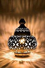 Orientalische kleine Tischlampe Lampe Aruna 31cm Silber   Marokkanische Tischlampen klein aus Metall, Lampenschirm silberfarben   Nachttischlampe modern, für Vintage, Retro & Landhaus Stil Design