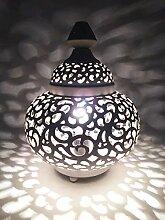 Orientalische kleine Tischlampe Lampe Nahla 31cm Weiß E27   Marokkanische Tischlampen klein aus Metall, Lampenschirm Weiß   Nachttischlampe modern, für Vintage, Retro & Landhaus Stil Design