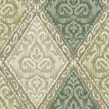 Orientalische Kunst mit Rauten Taupe und Grün