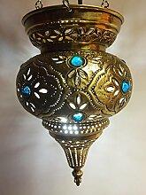 Orientalische Lampe aus Messing Ahava goldfarbig