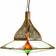 Orientalische Lampe Pendelleuchte Bunt Ufod 40cm E27 Lampenfassung | Marokkanische Design Hängeleuchte Leuchte aus Marokko | Orient Lampen für Wohnzimmer Küche oder Hängend über den Esstisch