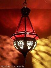 Orientalische Lampe Pendelleuchte Rot Moulay 45cm E27 Lampenfassung | Marokkanische Design Hängeleuchte Leuchte aus Marokko | Orient Lampen für Wohnzimmer Küche oder Hängend über den Esstisch