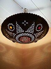 Orientalische Lampe Pendelleuchte Schwarz Houda E27 Lampenfassung | Marokkanische Design Hängeleuchte Leuchte aus Marokko | Orient Lampen für Wohnzimmer, Küche oder Hängend über den Esstisch