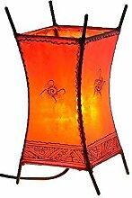 Orientalische Lampe Stehlampe marokkanische Hennalampe Lederlampe Tischleuchte Stehleuchte Orient Carree Sonne 30 cm Color Ro