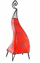 Orientalische Lampe Stehlampe marokkanische Hennalampe Lederlampe Tischleuchte Stehleuchte Orient Marrakesch Sonne 60 cm Color Ro