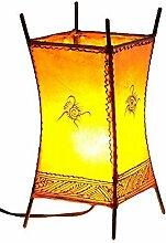 Orientalische Lampe Stehlampe marokkanische Hennalampe Lederlampe Tischleuchte Stehleuchte Orient Carree Sonne 30 cm Color Orange