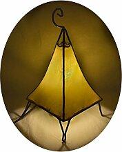 Orientalische Lampe Stehlampe marokkanische Hennalampe Lederlampe Tischleuchte Stehleuchte Orient Pyramide einfarbig 40 cm Color Gelb