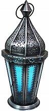 Orientalische Laterne aus Metall & Glas Ajda blau 29cm   orientalisches Windlicht   Marokkanische Glaslaterne für innen   Marokkanisches Gartenwindlicht für draußen als Gartenlaterne