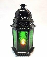 Orientalische Laterne aus Metall & Glas Shyama 40cm | orientalisches Windlicht | Marokkanische Glaslaterne für innen | Marokkanisches Gartenwindlicht für draußen (Grün)