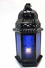 Orientalische Laterne aus Metall & Glas Shyama 40cm | orientalisches Windlicht | Marokkanische Glaslaterne für innen | Marokkanisches Gartenwindlicht für draußen (Blau)