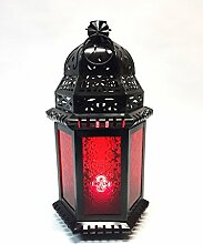 Orientalische Laterne aus Metall & Glas Shyama 40cm | orientalisches Windlicht | Marokkanische Glaslaterne für innen | Marokkanisches Gartenwindlicht für draußen (Rot)