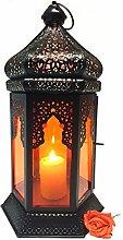 Orientalische Laterne aus Metall & Glas Yesim Orange 40cm | orientalisches Windlicht | Marokkanische Glaslaterne für innen | Marokkanisches Gartenwindlicht für draußen als Gartenlaterne