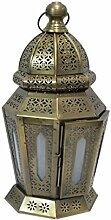Orientalische Laterne aus Metall & Glas Yudum 40cm | orientalisches Windlicht | Marokkanische Glaslaterne für innen | Marokkanisches Gartenwindlicht für draußen als Gartenlaterne