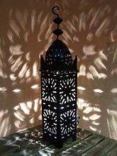 Orientalische Laterne aus Metall Schwarz Frane 50cm groß   Marokkanische Gartenlaterne für draußen, Innen als Tischlaterne   Marokkanisches Gartenwindlicht Windlicht hängend oder zum hinstellen