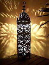 Orientalische Laterne aus Metall Schwarz Frane 74cm groß   Marokkanische Gartenlaterne für draußen, Innen als Bodenlaterne   Marokkanisches Gartenwindlicht Windlicht hängend oder zum hinstellen