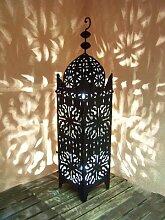 Orientalische Laterne aus Metall Schwarz Frane 90cm groß   Marokkanische Gartenlaterne für draußen, Innen als Bodenlaterne   Marokkanisches Gartenwindlicht Windlicht hängend oder zum hinstellen