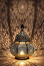Orientalische Laterne aus Metall Ziva Weiß 30cm | orientalisches Marokkanisches Windlicht Gartenwindlicht | Marokkanische Metalllaterne für draußen als Gartenlaterne, oder Innen als Tischlaterne