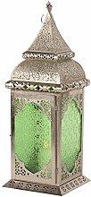 Orientalische Laterne Madila Windlicht silber Orientlampe Gartenlaterne 55cm (Grün)