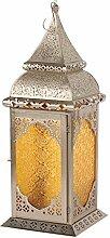 Orientalische Laterne Madila Windlicht silber Orientlampe Gartenlaterne 55cm (Gelb)