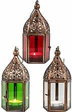 Orientalische Laternen 3 Set Laterne Meena bunt 16cm   3x Orientalisches Windlicht aus Metall & Glas in 3 Farben   Marokkanische Glaslaterne für draußen als Gartenlaterne, Innen als Tischlaterne
