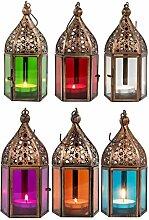 Orientalische Laternen 6 Set Laterne Meena bunt 16cm   6x Orientalisches Windlicht aus Metall & Glas in 6 Farben   Marokkanische Glaslaterne für draußen als Gartenlaterne, Innen als Tischlaterne