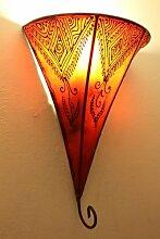 Orientalische Leder-Wandlampe Najat Orange