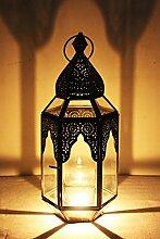 Orientalische Marokkanische Orient Indische Laterne - Haifana 32cm - Windlicht Glaslaterne Gartenlaterne (Klar)