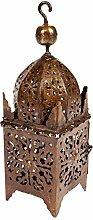 Orientalische rostige Laterne aus Metall Frane 40cm groß | Marokkanische Rost Gartenlaterne für draußen, oder Innen als Tischlaterne | Marokkanisches Gartenwindlicht hängend oder zum hinstellen