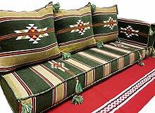Orientalische Sitzecke,Bodenkissen,Sitzkissen,Sitzgruppe,Orientalische Sofa Tannengrün 5 teilig