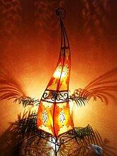 Orientalische Stehlampe Mira 100cm Lederlampe Hennalampe Lampe | Marokkanische Große Stehlampen aus Metall, Lampenschirm aus Leder | Orientalische Dekoration aus Marokko, Farbe Orange Ro
