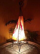 Orientalische Stehlampe Narin 70cm Lederlampe Hennalampe Lampe | Marokkanische Große Stehlampen aus Metall, Lampenschirm aus Leder | Orientalische Dekoration aus Marokko, Farbe Orange Rot Natur