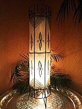 Orientalische Stehlampe Neslihan Natur 80cm Lederlampe Hennalampe Lampe | Marokkanische Große Stehlampen aus Metall, Lampenschirm aus Leder | Orientalische Dekoration aus Marokko, Farbe Natur