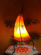 Orientalische Stehlampe Nouf Orange 60cm Lederlampe Hennalampe Lampe | Marokkanische Große Stehlampen aus Metall, Lampenschirm aus Leder | Orientalische Dekoration aus Marokko, Farbe Orange