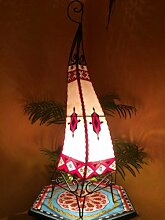 Orientalische Stehlampe Riham 80cm Lederlampe Hennalampe Lampe | Marokkanische Große Stehlampen aus Metall, Lampenschirm aus Leder | Orientalische Dekoration aus Marokko, Farbe Natur Ro