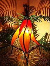 Orientalische Tischlampe Emel 37cm Lederlampe Hennalampe Lampe | Marokkanische kleine Tischlampen aus Metall, Lampenschirm aus Leder | Orientalische Dekoration aus Marokko, Farbe Orange, Natur, Ro