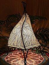 Orientalische Tischlampe Emira 43cm Lederlampe Hennalampe Lampe | Marokkanische kleine Tischlampen aus Metall, Lampenschirm aus Leder | Orientalische Dekoration aus Marokko, Farbe Natur