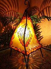 Orientalische Tischlampe Hafa 38cm Lederlampe Hennalampe Lampe | Marokkanische kleine Tischlampen aus Metall, Lampenschirm aus Leder | Orientalische Dekoration aus Marokko, Farbe Orange, Natur
